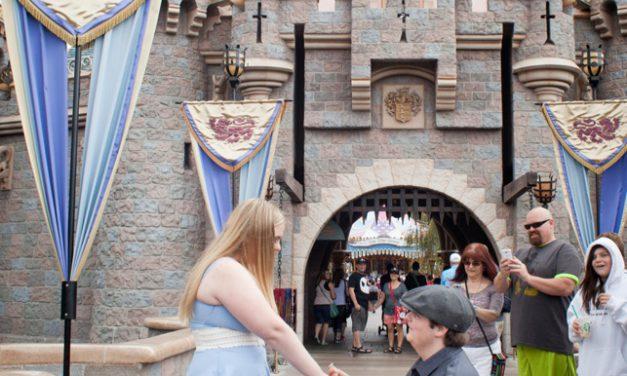 Fairytale Proposal Outside Cinderella's Castle