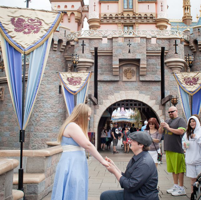 Fairytale Proposal Outside Cinderella's Castle