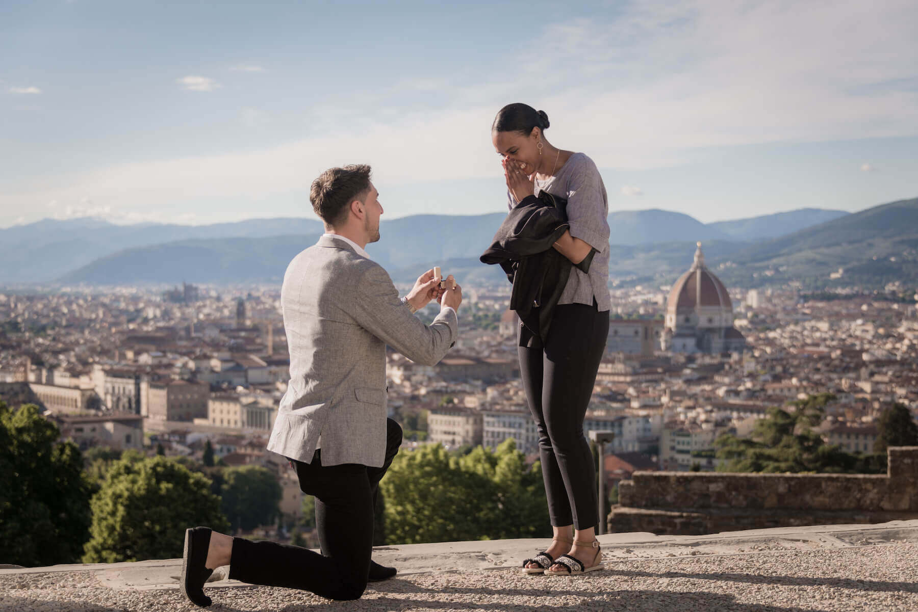 Surprise Flytographer proposal at Piazzale Michelangelo in Florence, Italy
