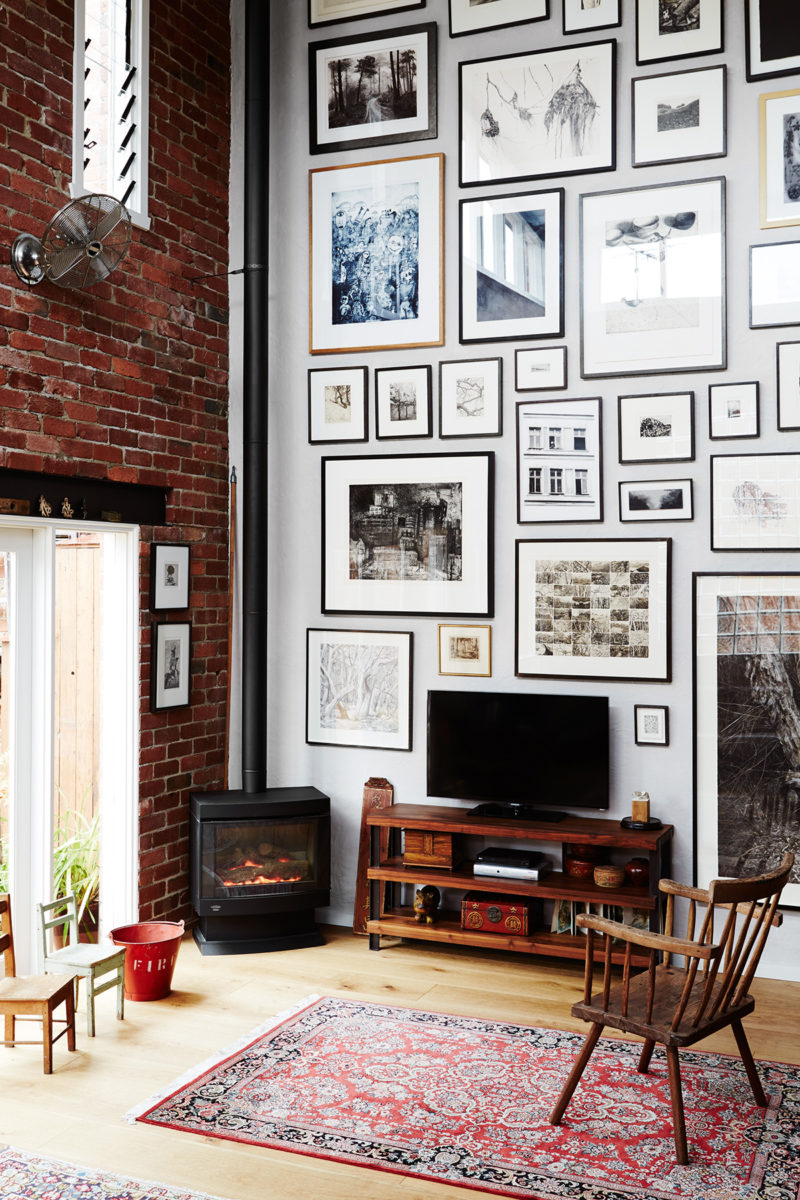 Gallery wall on high ceilings