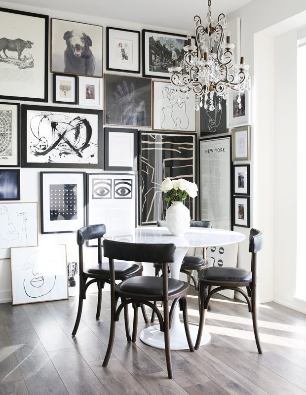 Gallery photos in a dining room