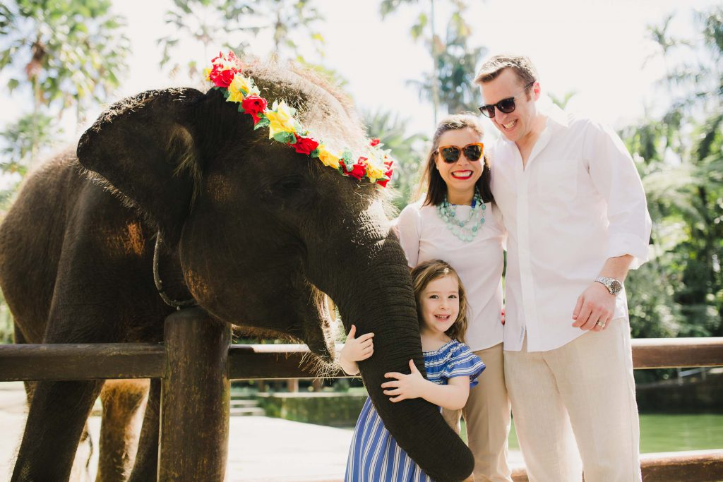 A mom, dad, and their young daughter pose with an elephant wearing a flower crown