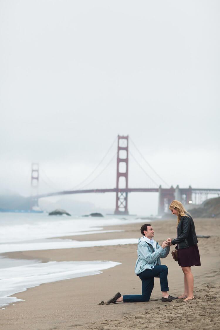 Man proposing to his partner at Baker's beach in San Francisco, California USA