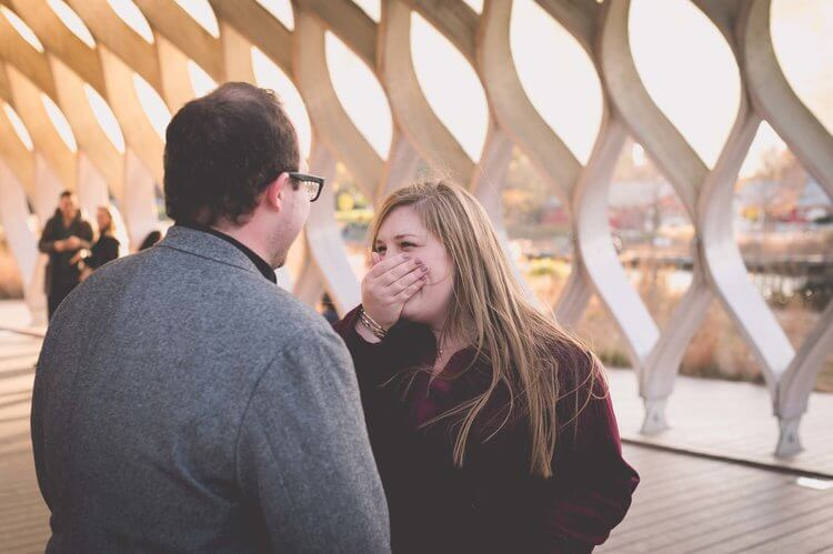 Woman covering mouth in shock to her partner's surprise proposal in Chicago, USA