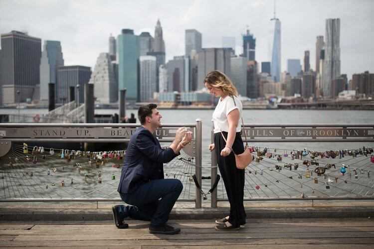 Man proposing to his partner in Brooklyn, New York City USA