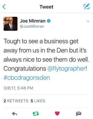 Joe Mimran - Tough to see a business get away from us in the Den but it's always nice to see them do well. Congratulations @flytographer!