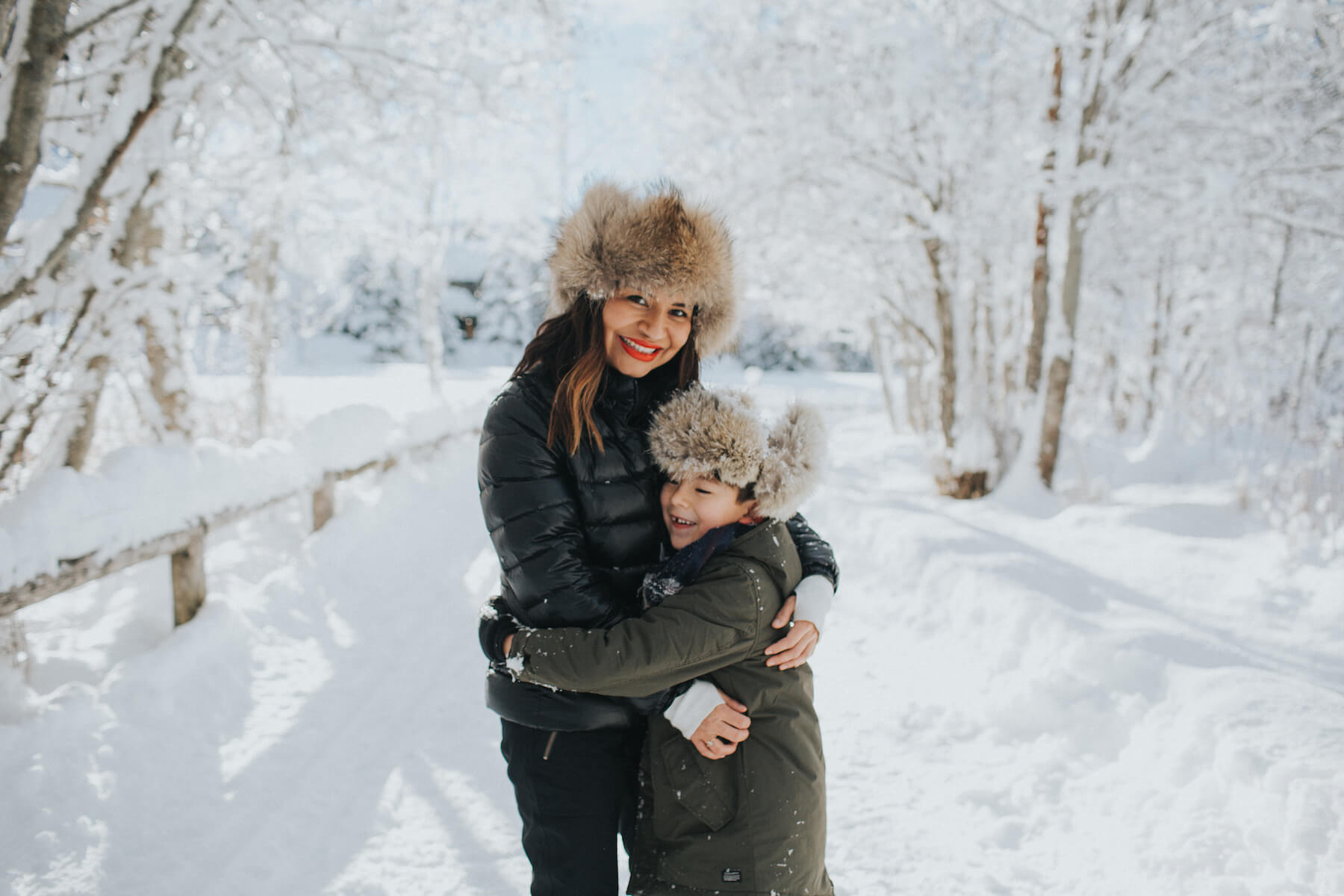 Mother and son having a family vacation in Whistler, British Columbia