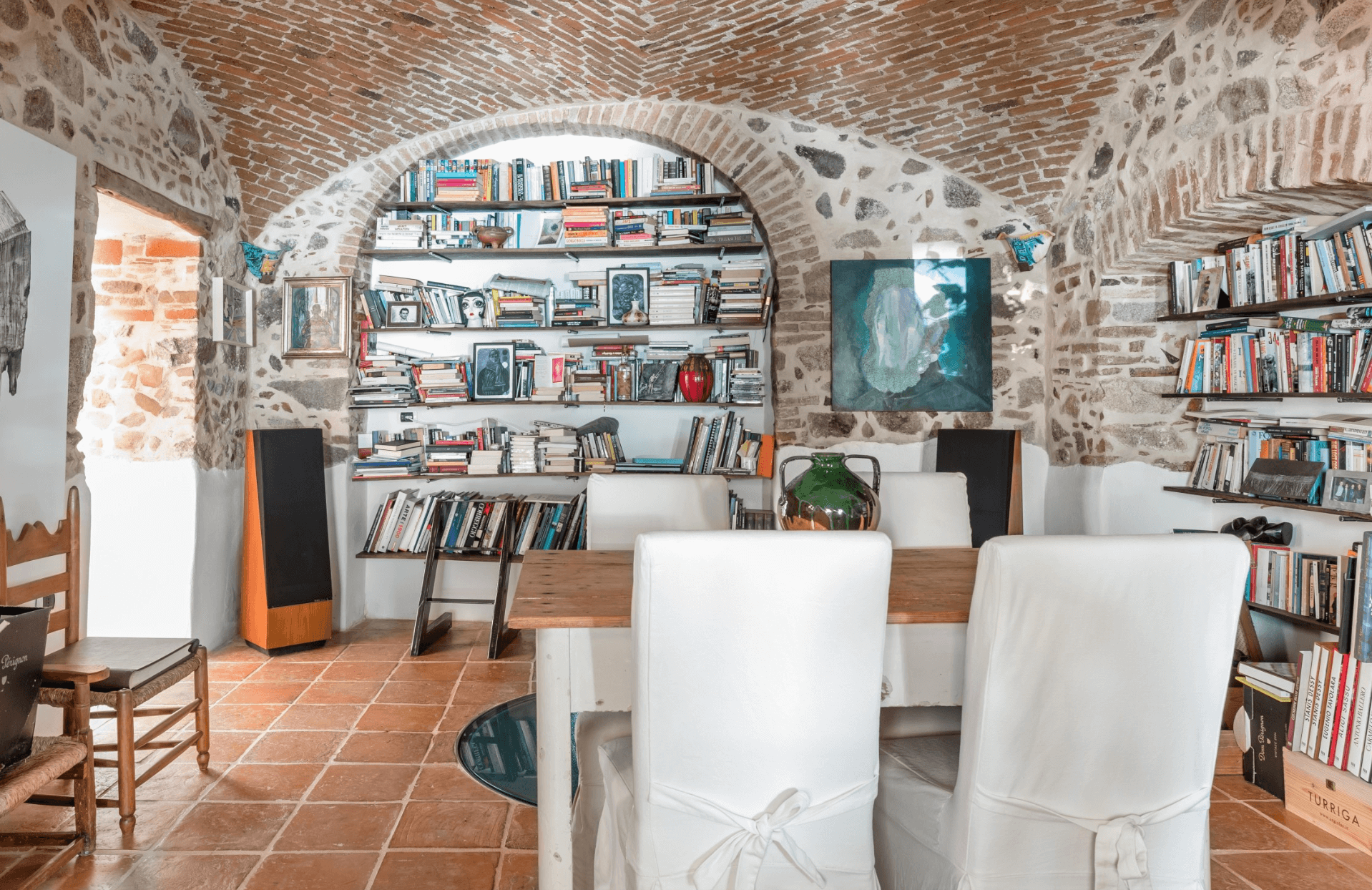the dining room of an airbnb in Sardinia, Italy