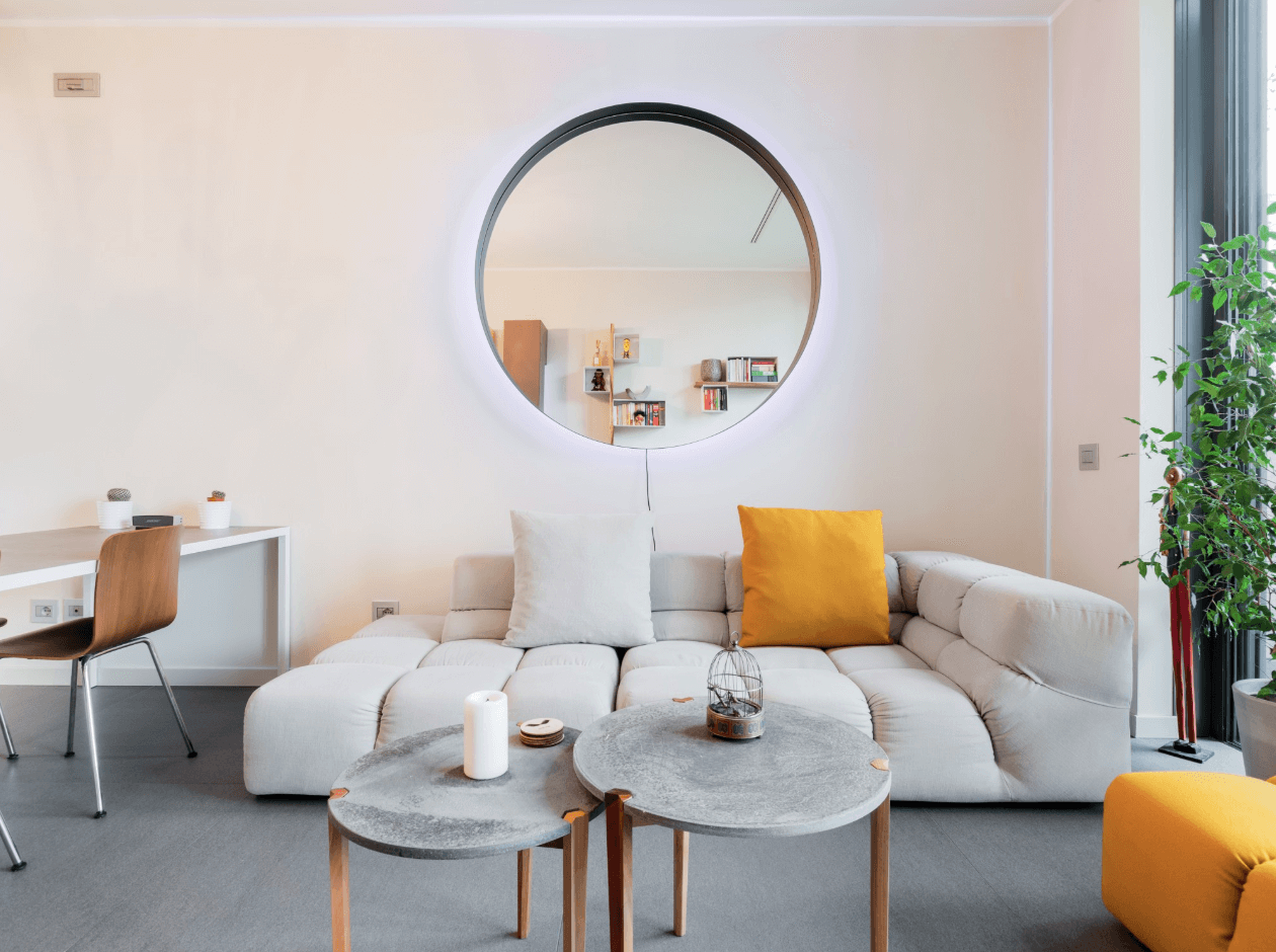 Inside of airbnb, living room in Milan, Italy