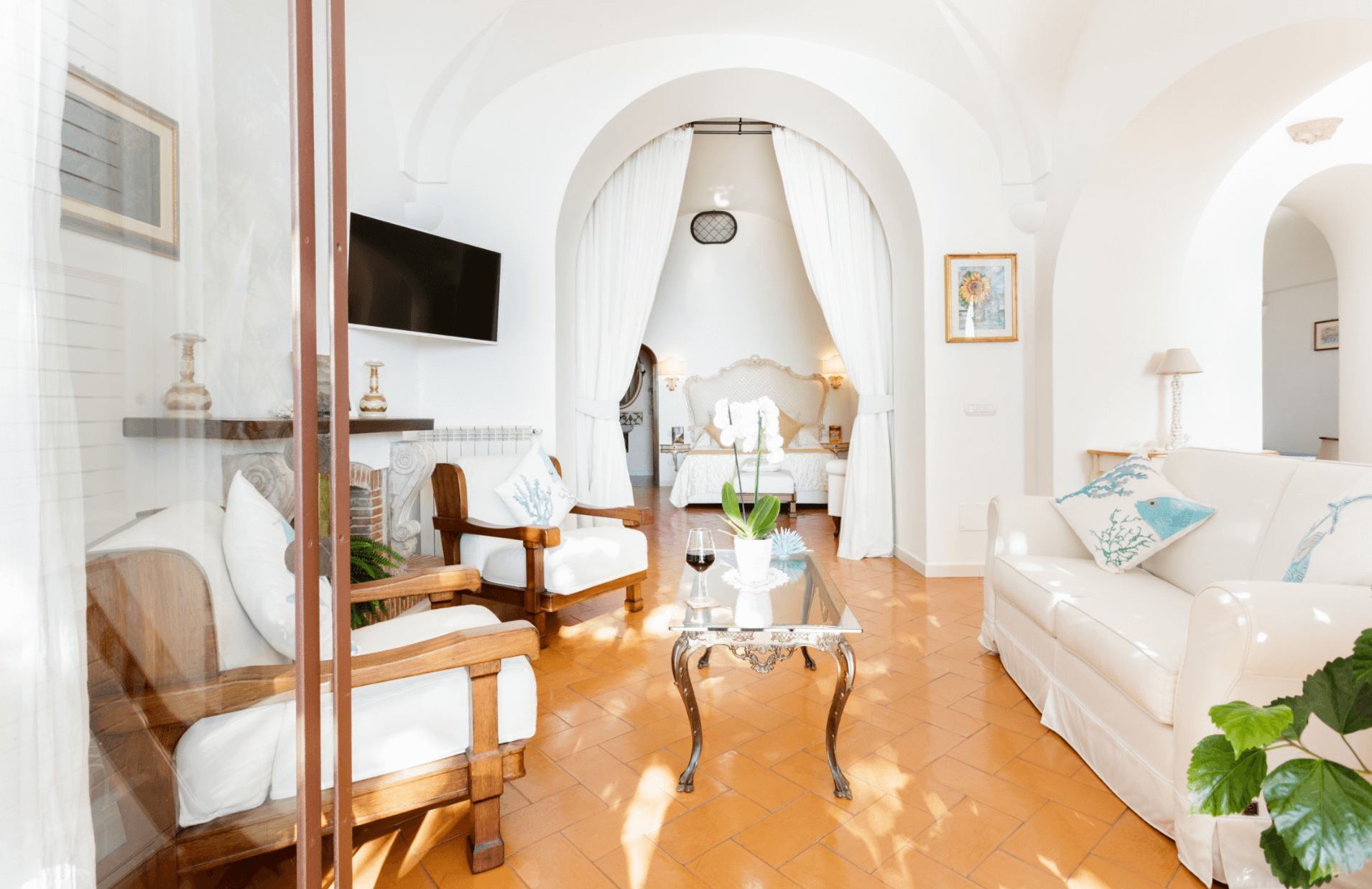 an image of a living room of an airbnb in Positano, Italy