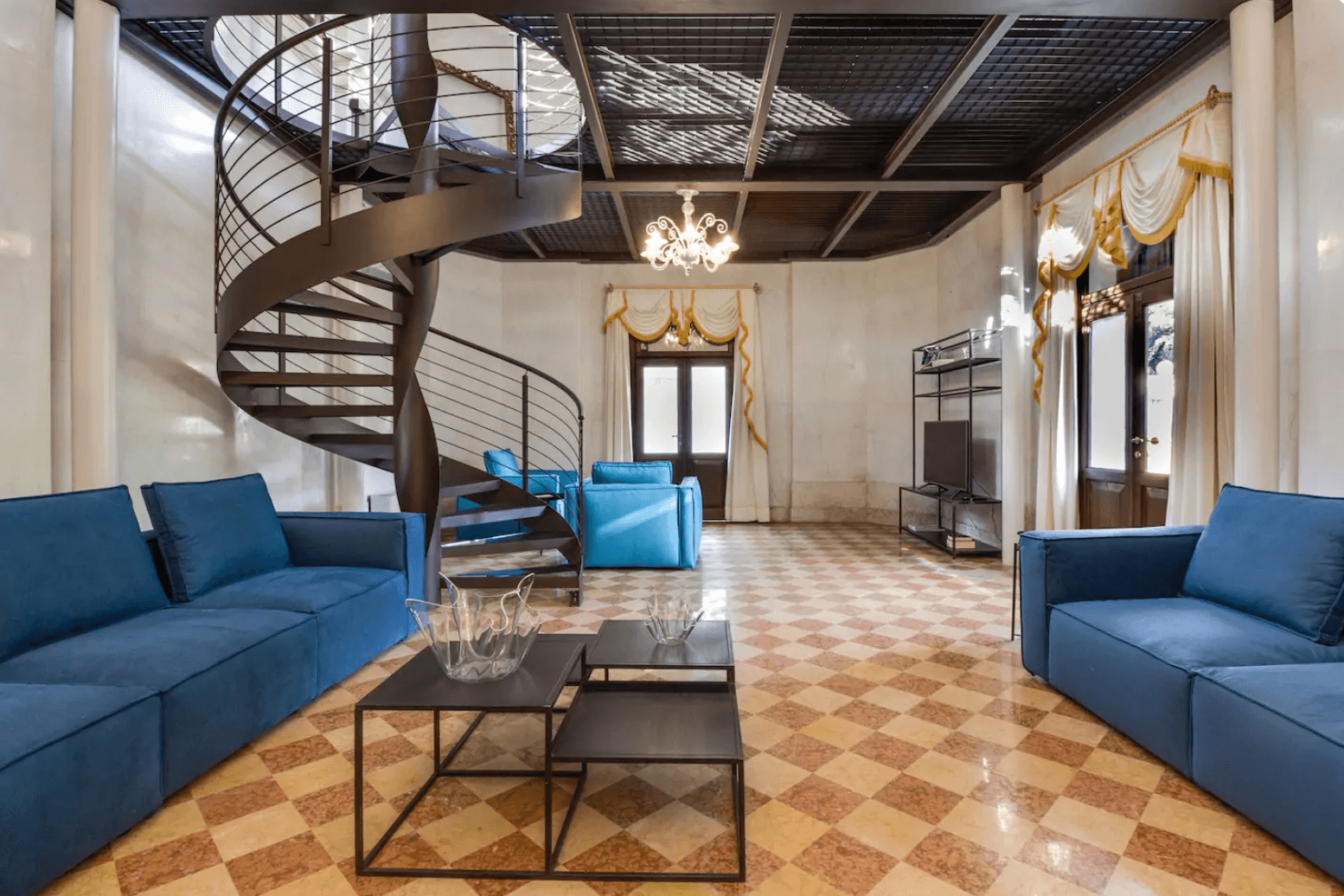 a living room of an airbnb in Venice, Italy