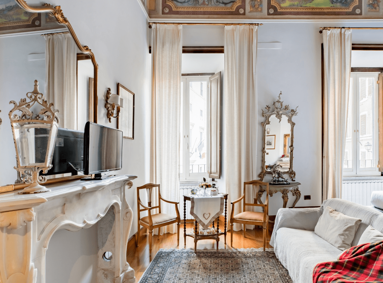 stunning picture of a traditional airbnb in Rome, Italy