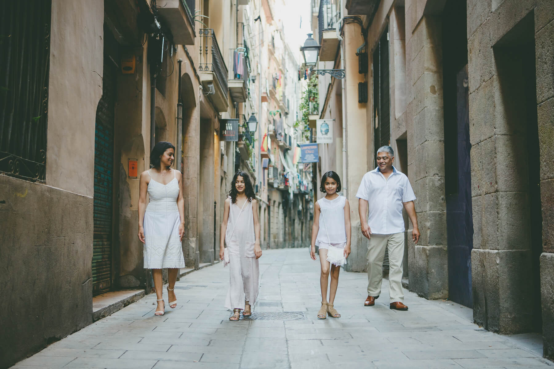 Family in Gothic Quarter, Barcelona, Spain