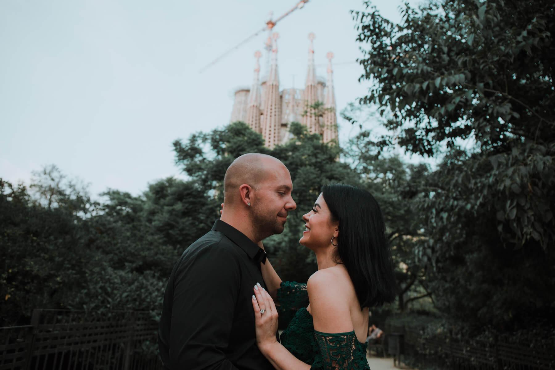 couples trip in Sagrada Familiar in Barcelona, Spain