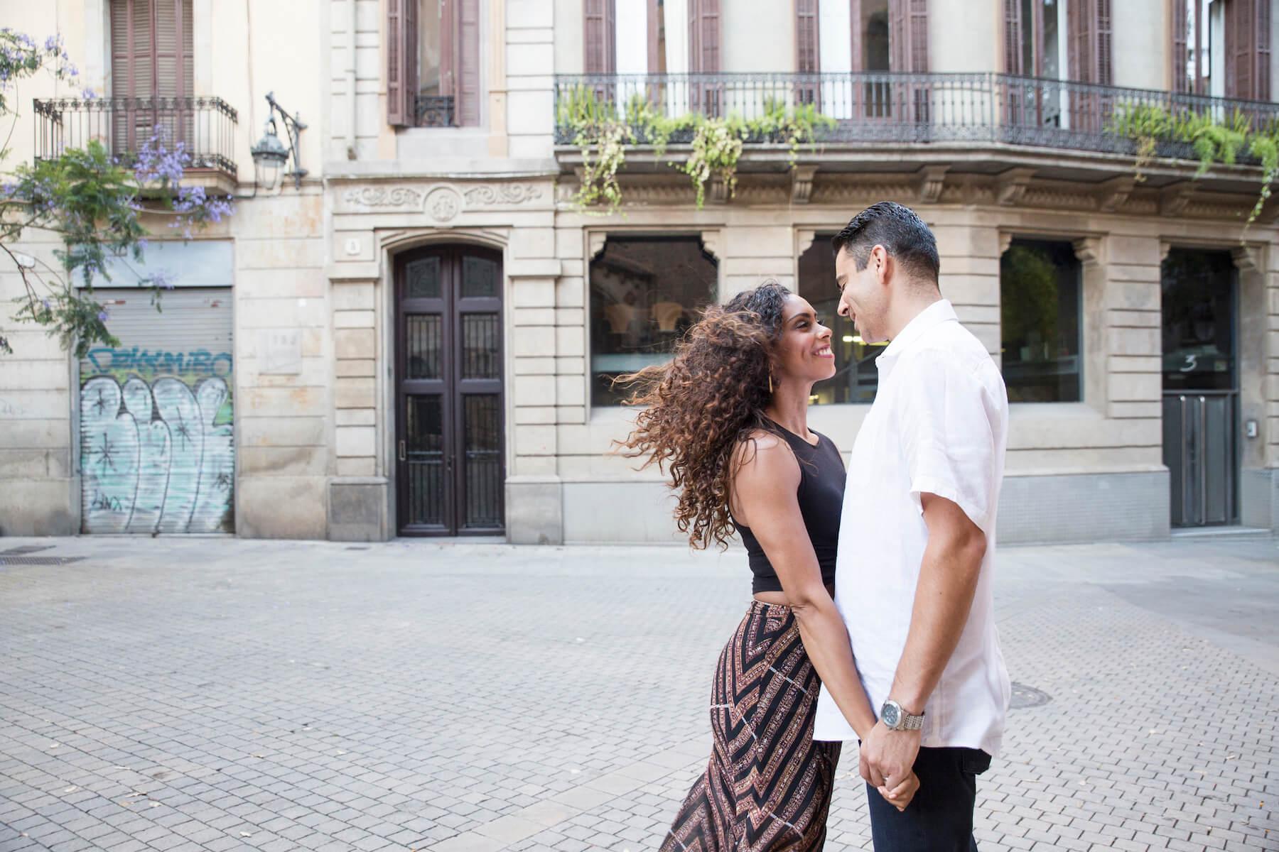couples trip in El Born Barcelona, Spain