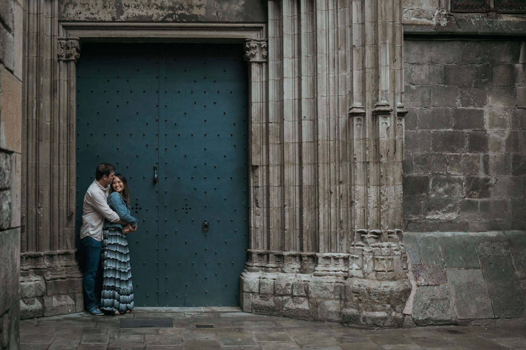 Couples trip in Gothic Quarter, Barcelona, Spain
