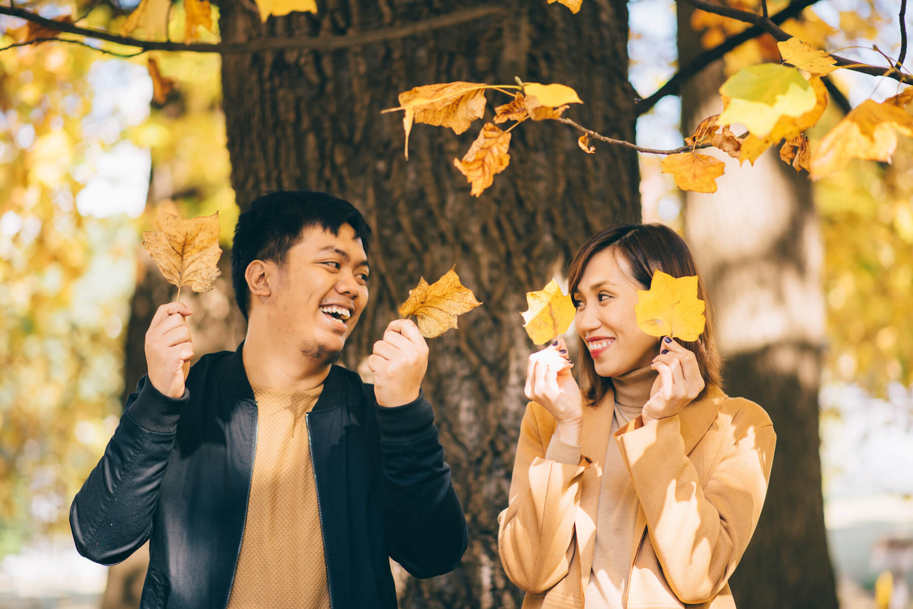 couple holding gingko leaves in Tokyo Japan