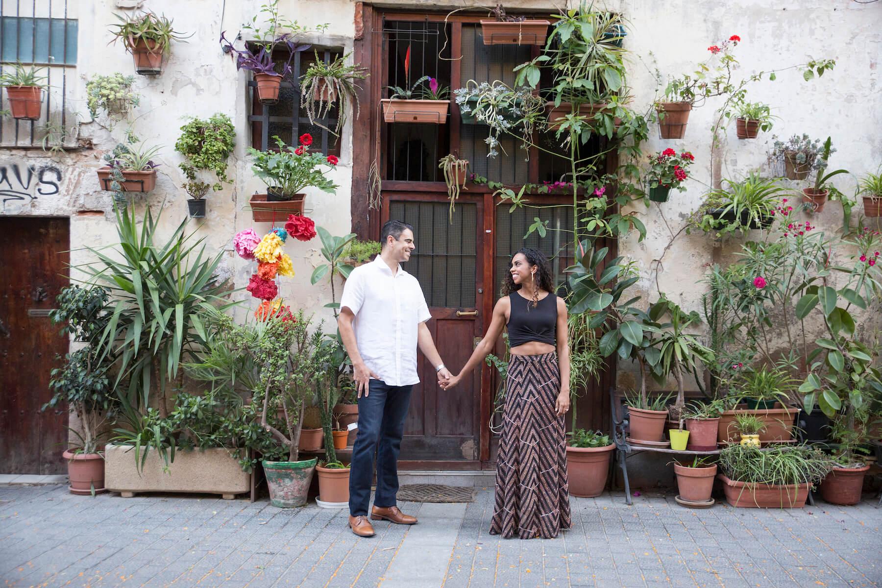 couples trip El Born district Barcelona, Spain