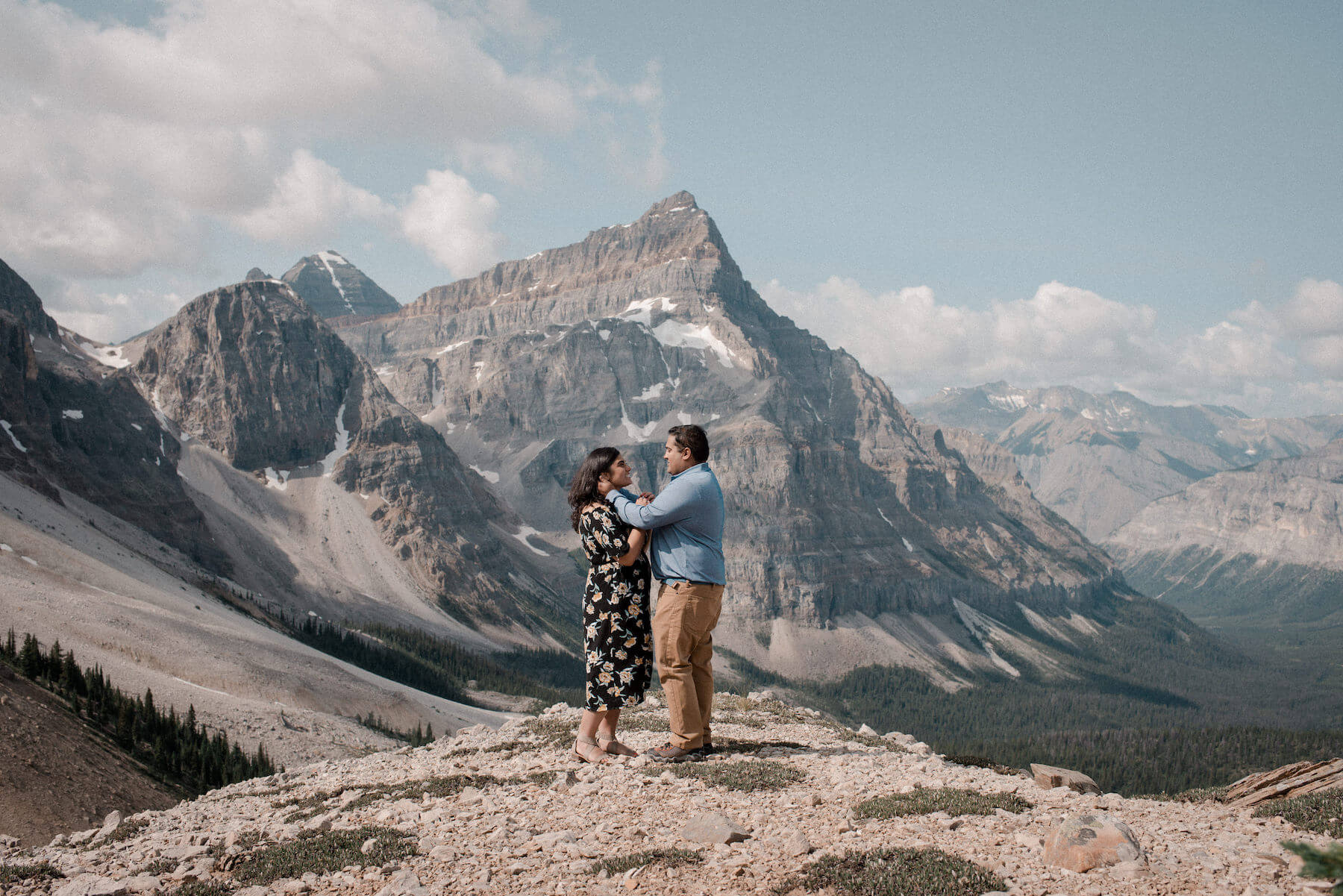Couple proposal in Banff, Alberta, Canada