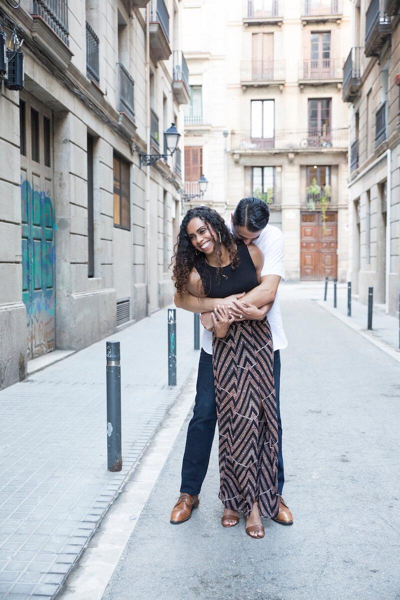 couples trip in El Born in Barcelona, Spain