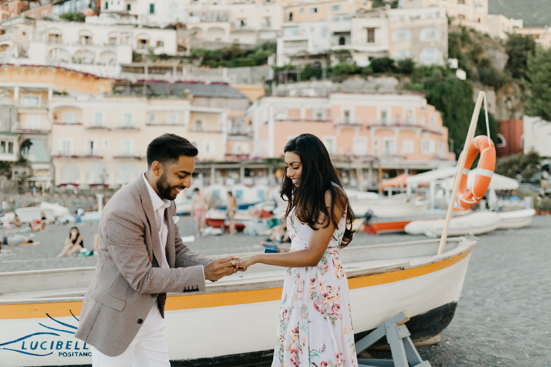 couple proposal in Positano, Italy