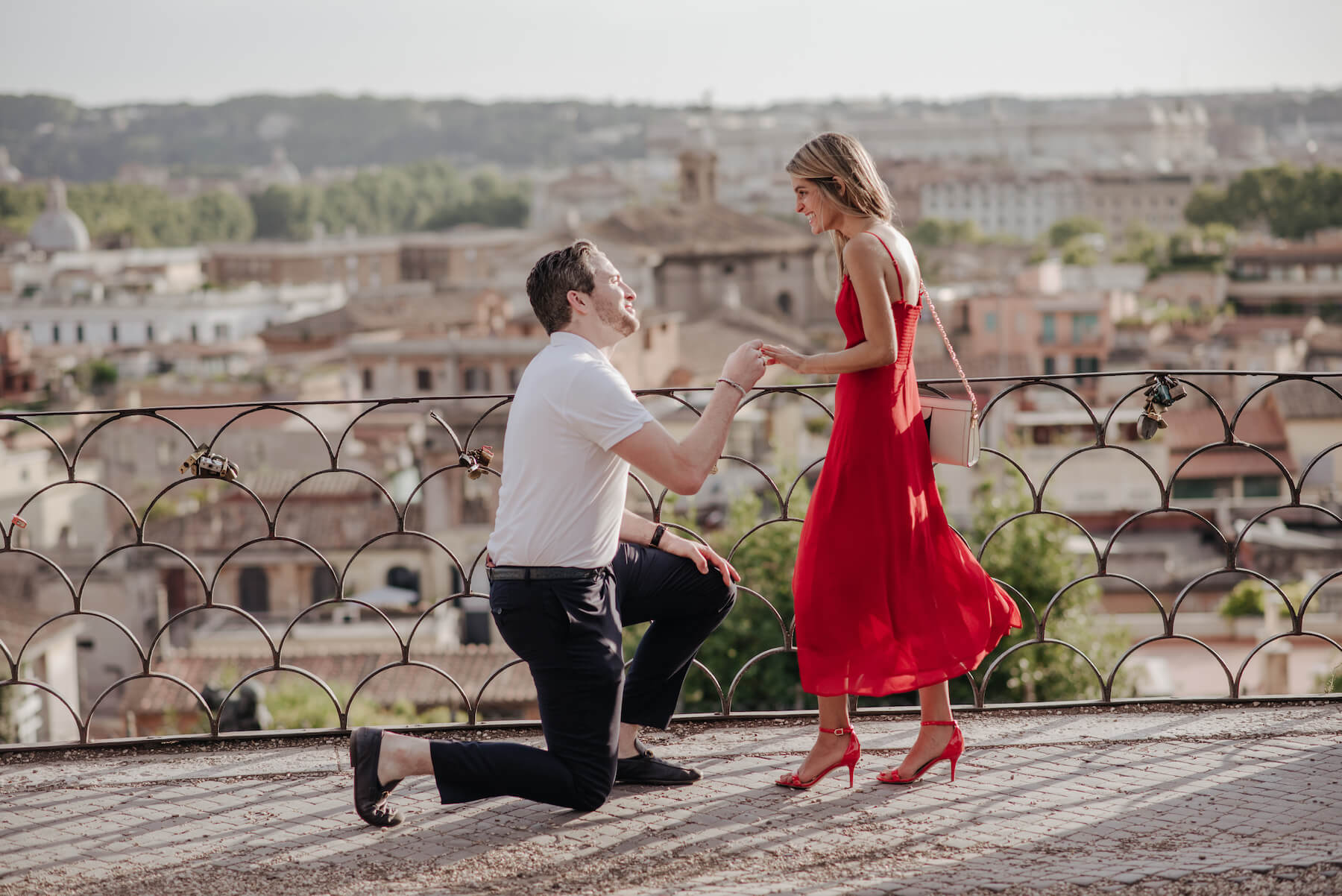 couple proposal in Rome, Italy