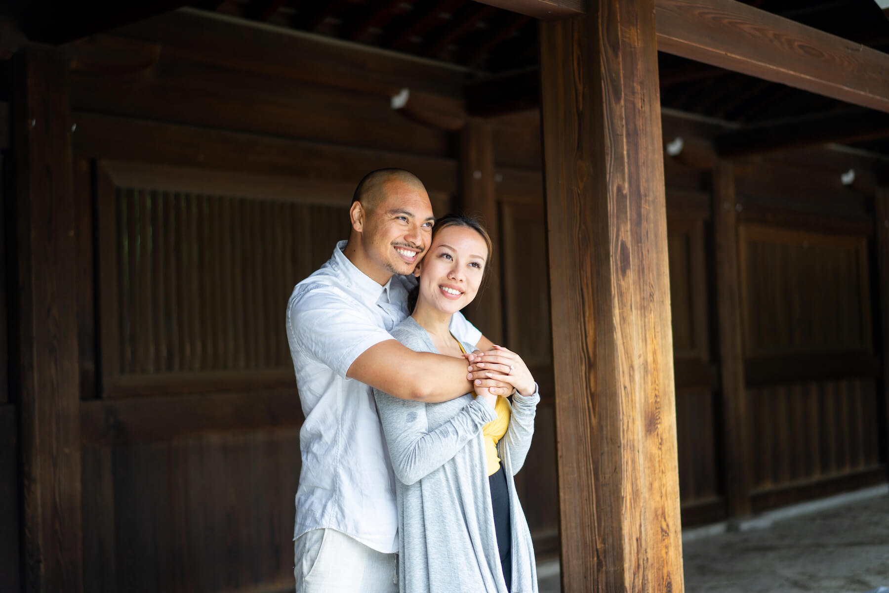 couple embracing in Tokyo Japan