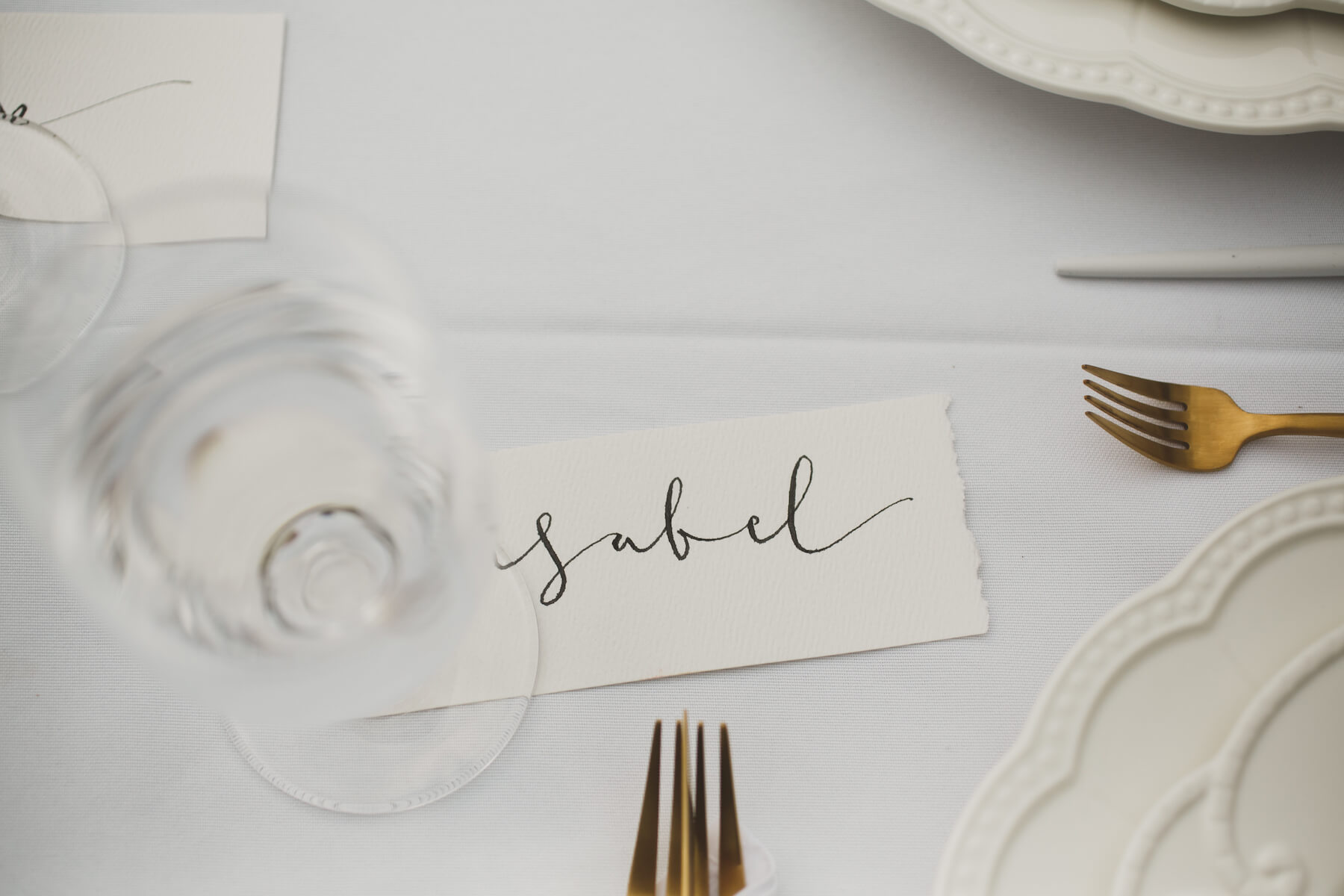 beautiful place cards at garden party