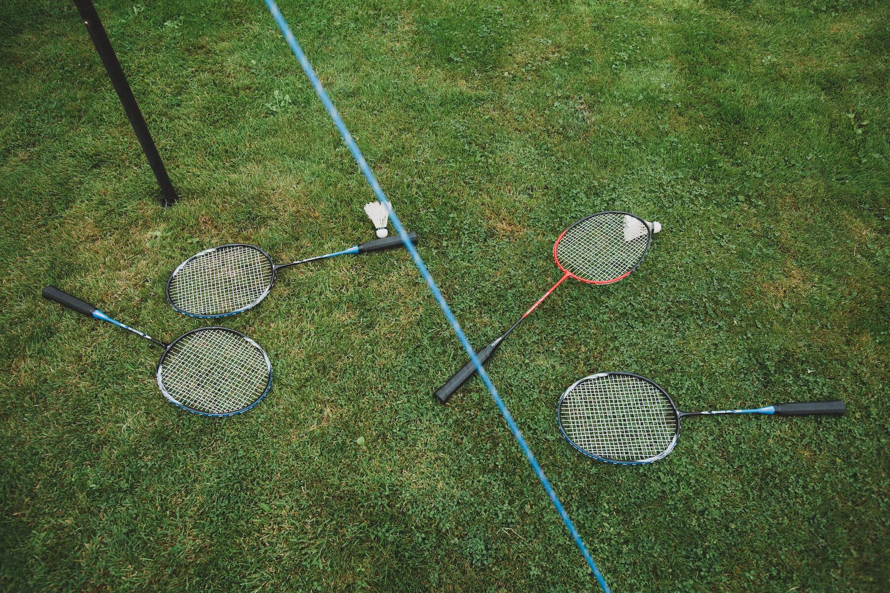 badminton racquets at the garden party