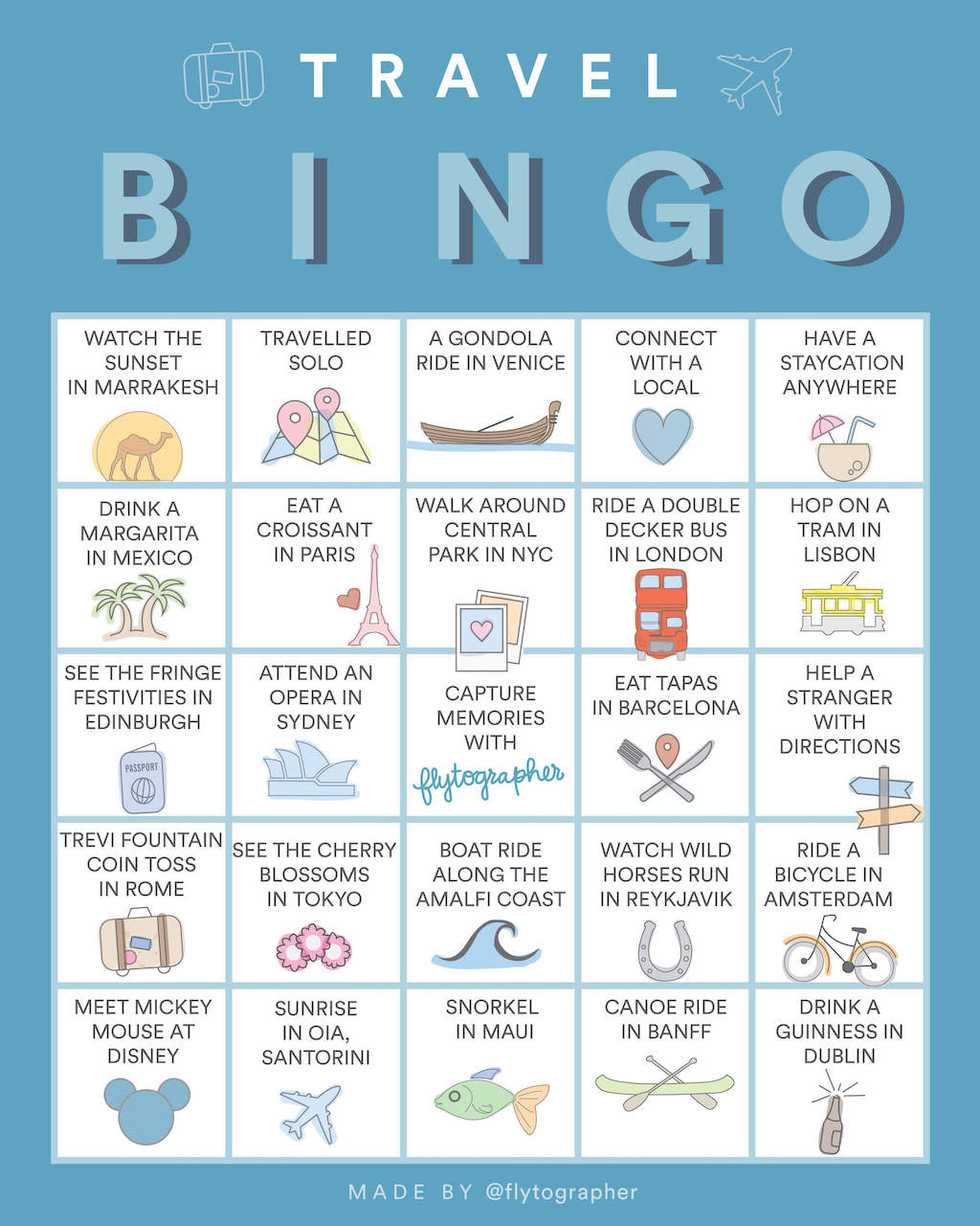 Play Travel BINGO With Flytographer!