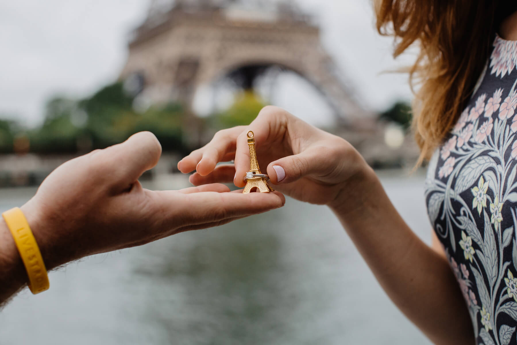 the man proposed to the woman, and had the ring presented to her on a small Eiffel Tower, in Paris, France
