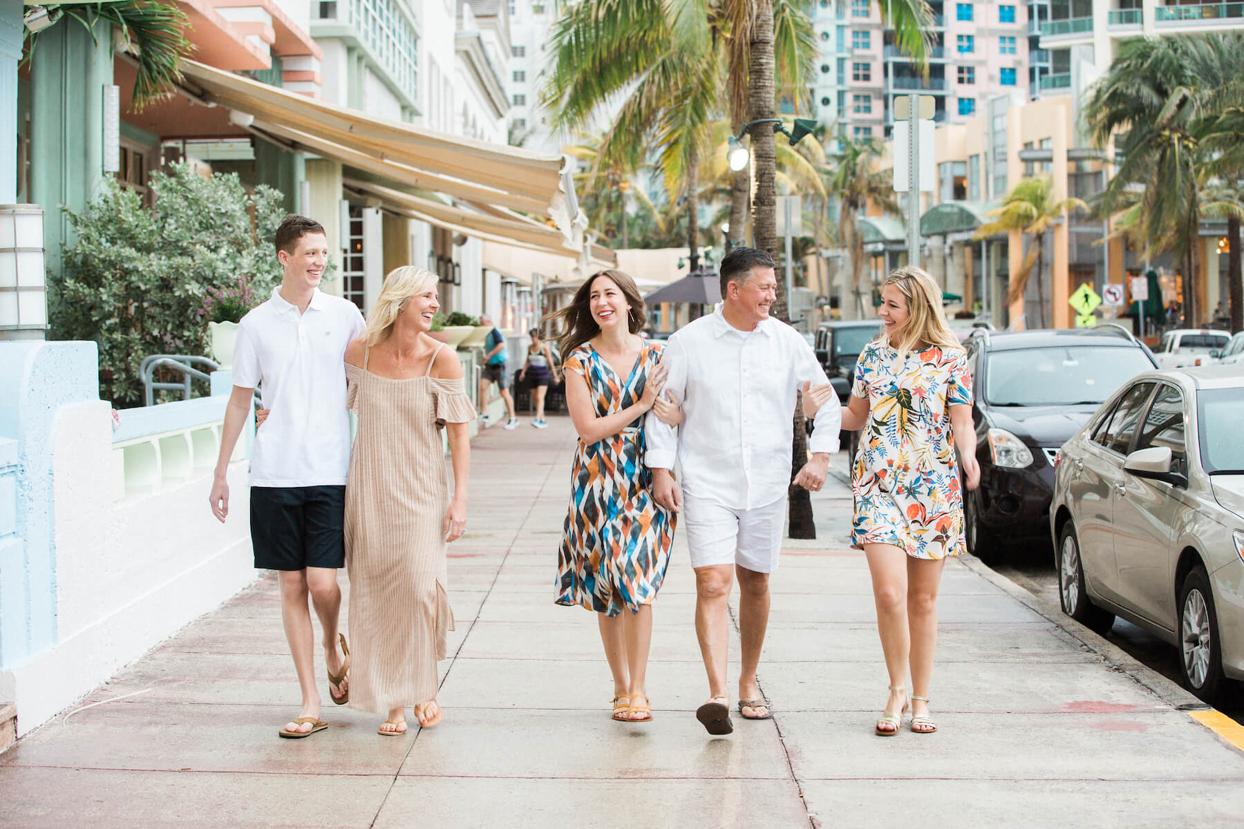 family walking down the street in Miami, Florida