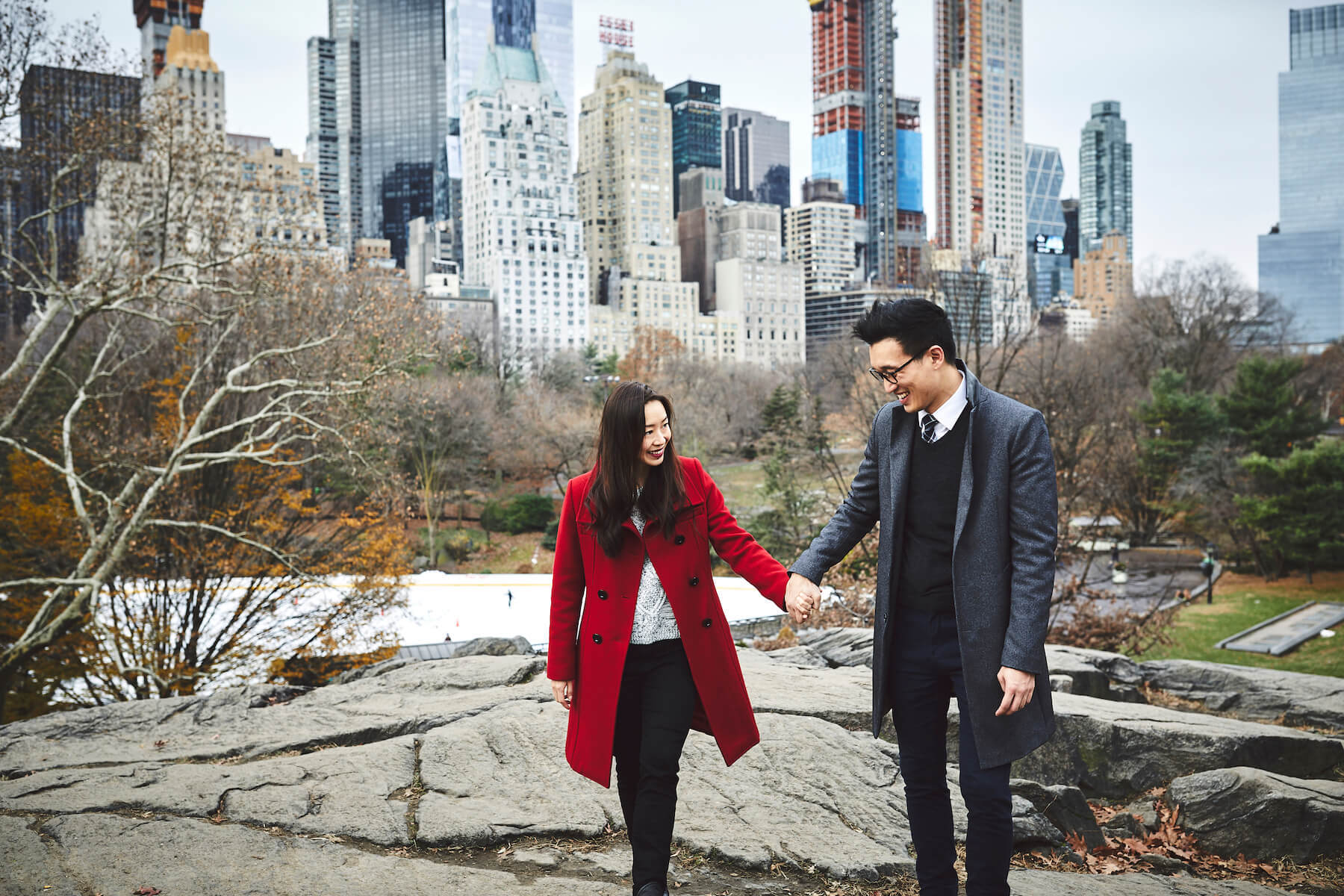 couple holding hands in New York City, New York