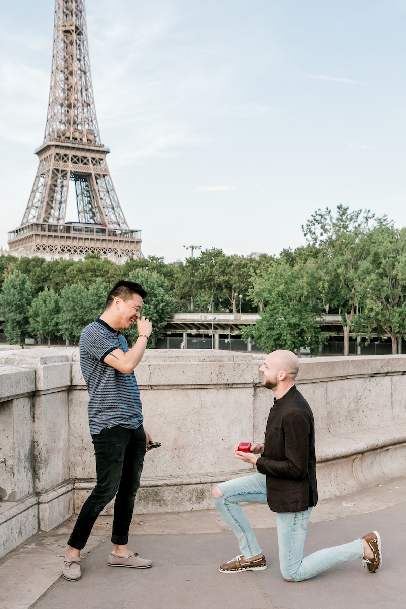 A close up of the wedding proposal in Paris, France