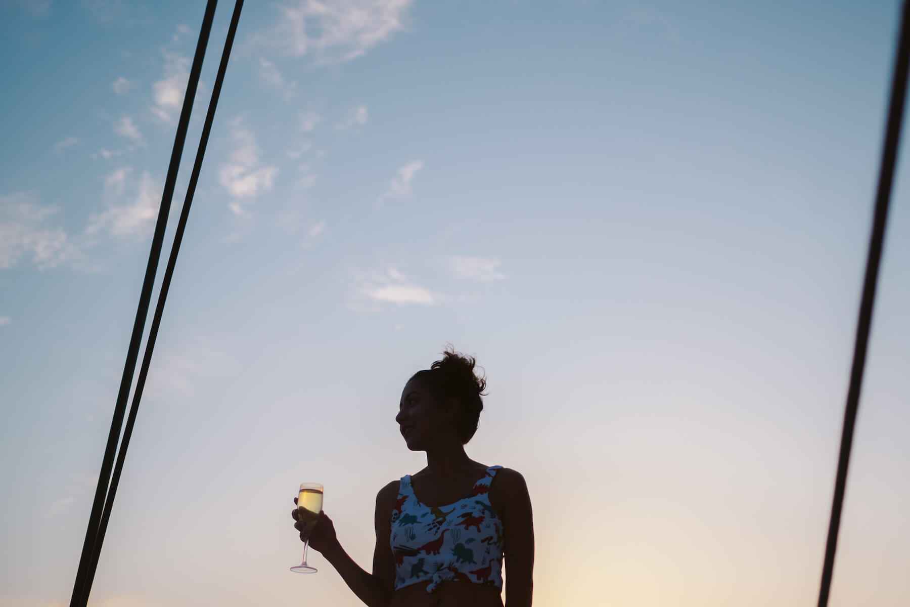 Woman in silhouette holding a glass of champagne during a sunset in Santorini, Greece