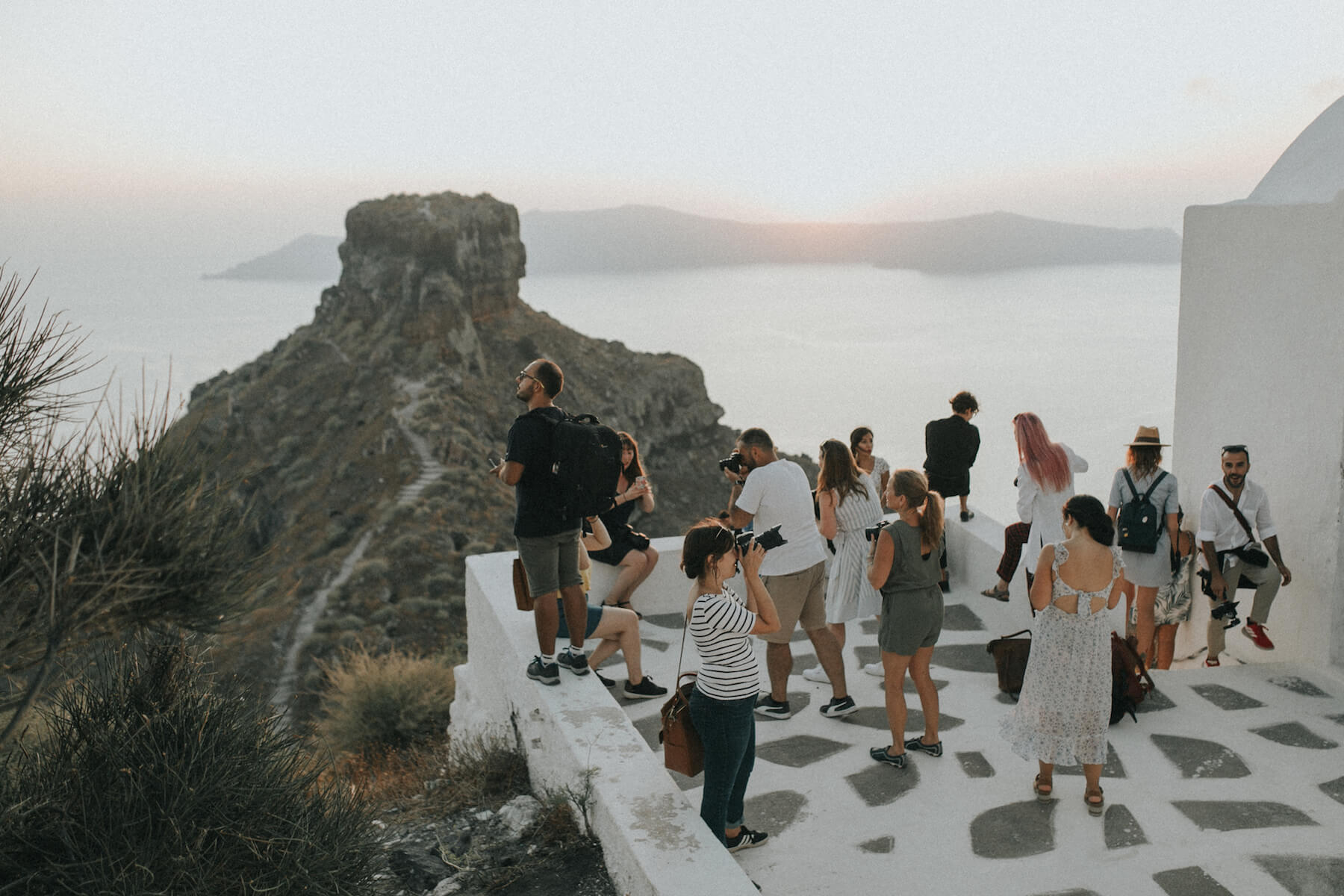 Group of photographers in Santorini, Greece