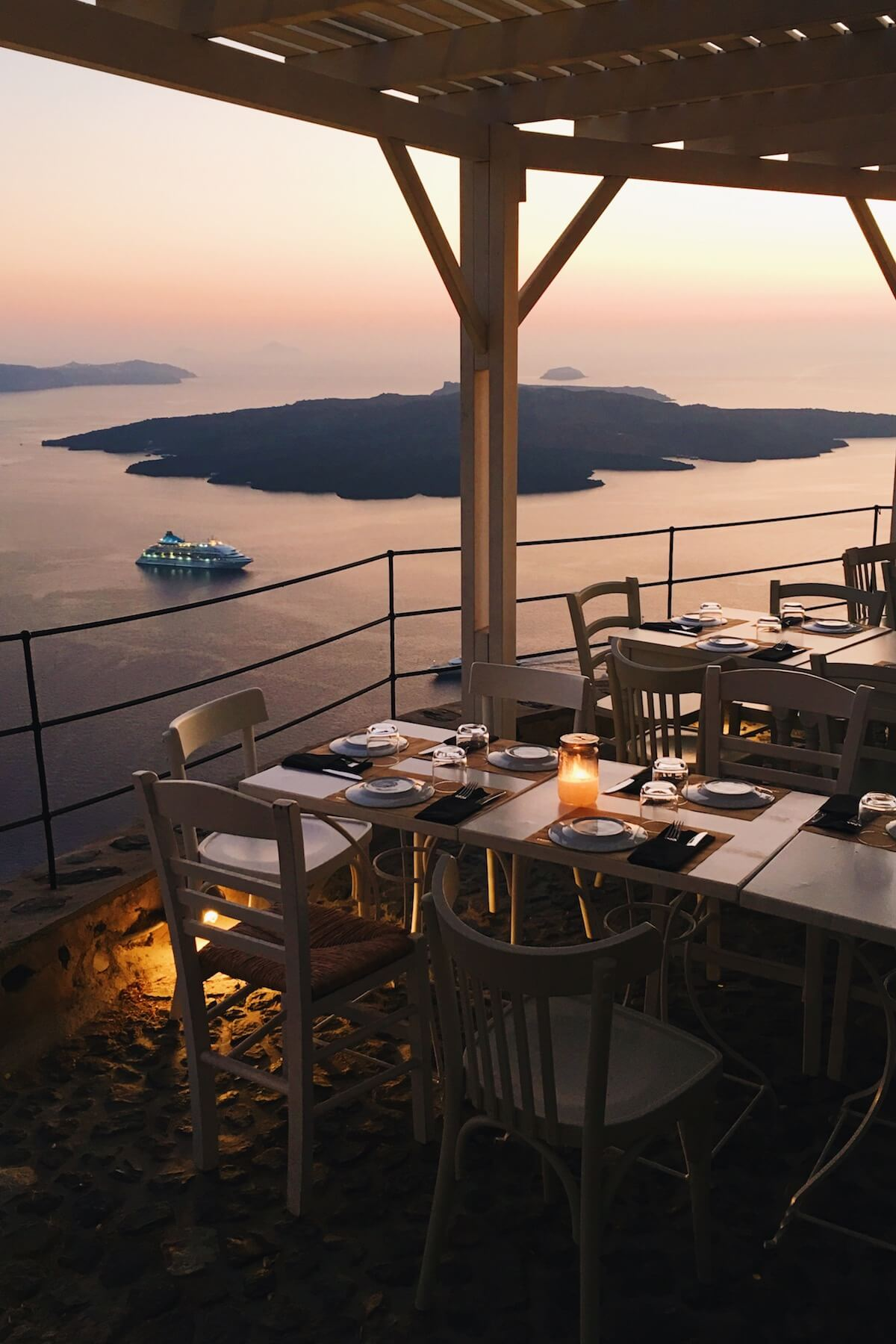 View from a patio restaurant in Santorini, Greece.