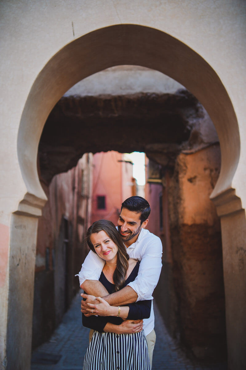 couple holding each other in Marrakesh, Morocco
