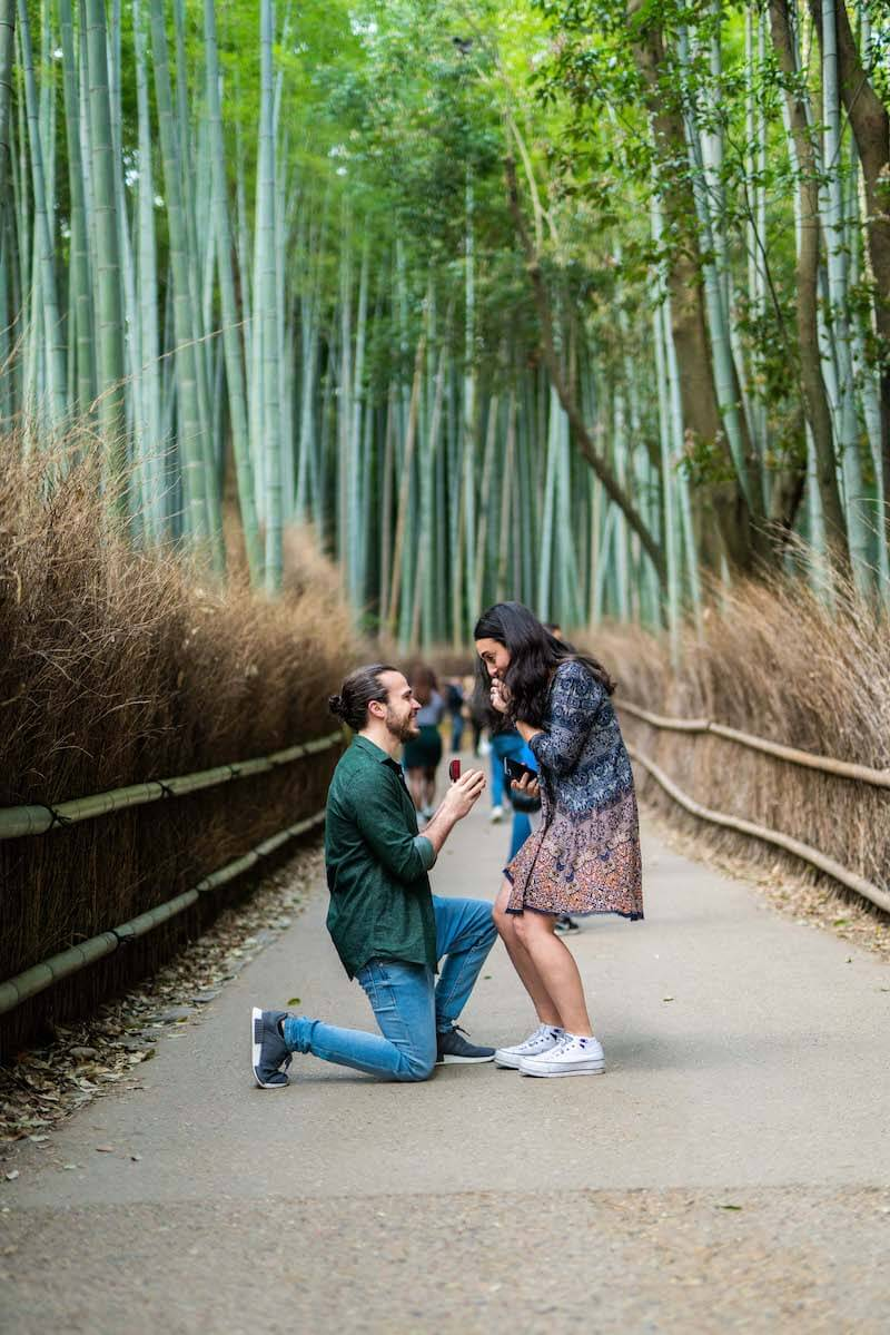 a man is kneeling in the bamboo forest and proposing to a woman in Kyoto, Japan