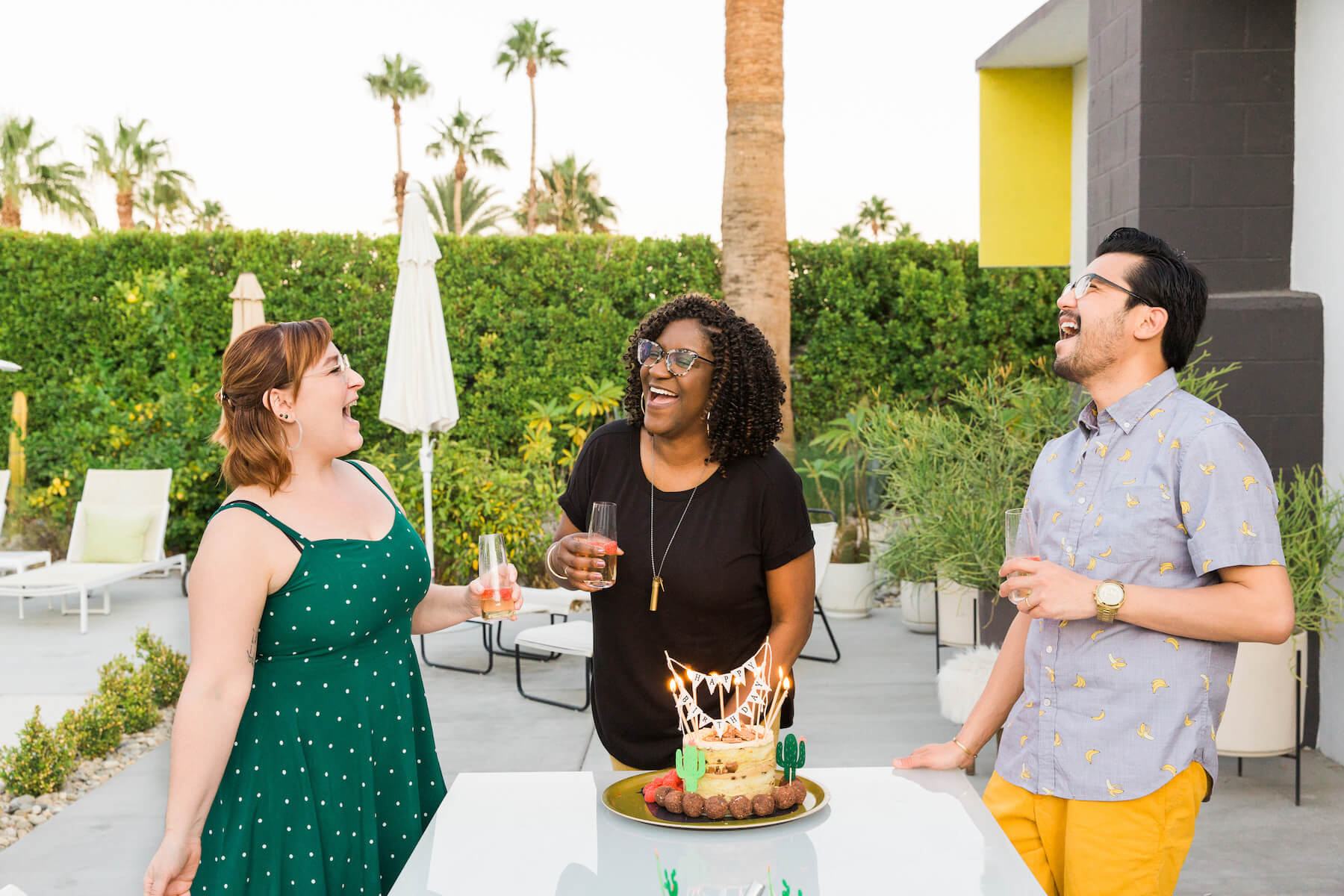 three friends having fun in Palm Springs, California