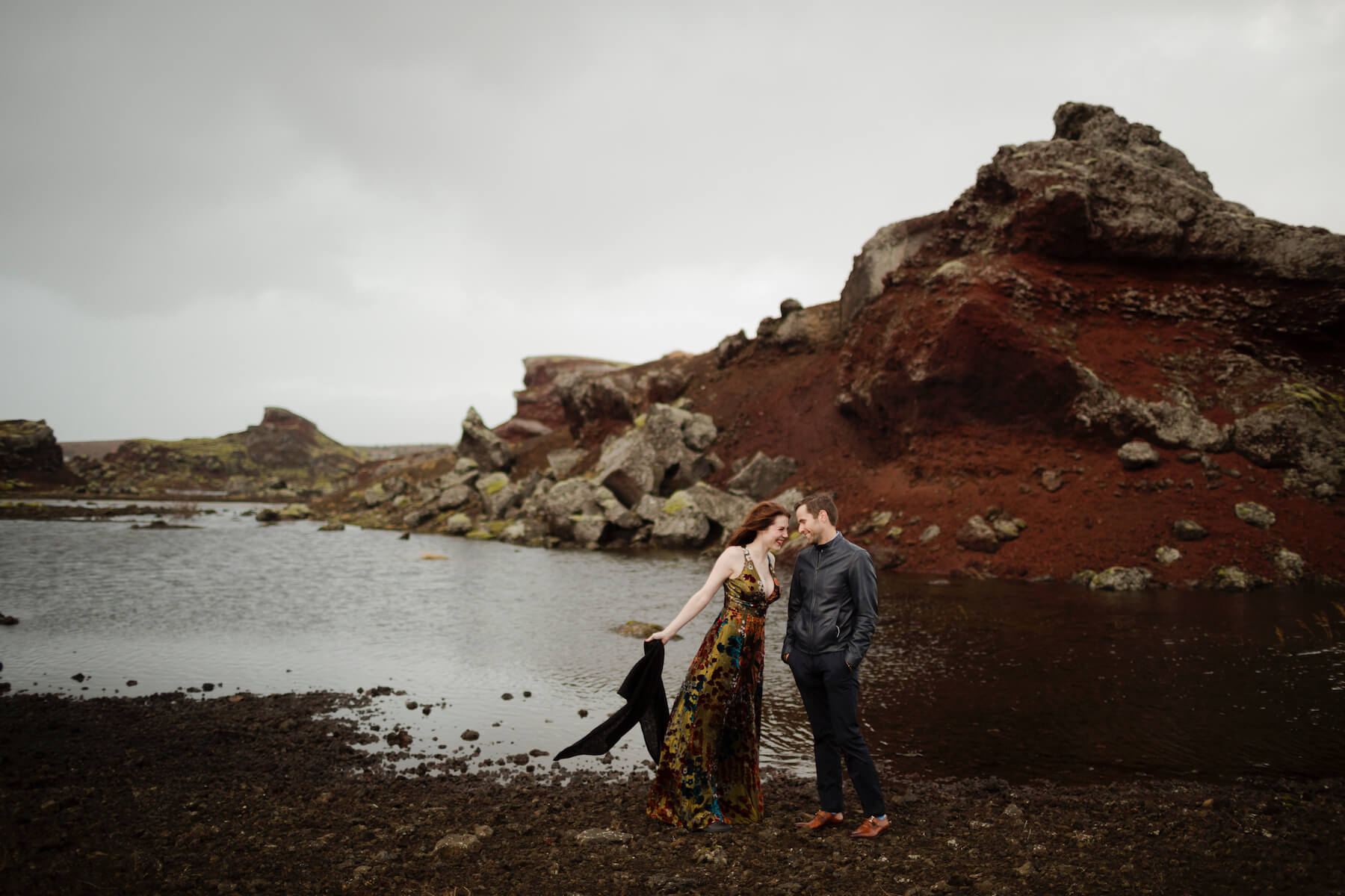 couple embracing each other in Reykjavik , Iceland