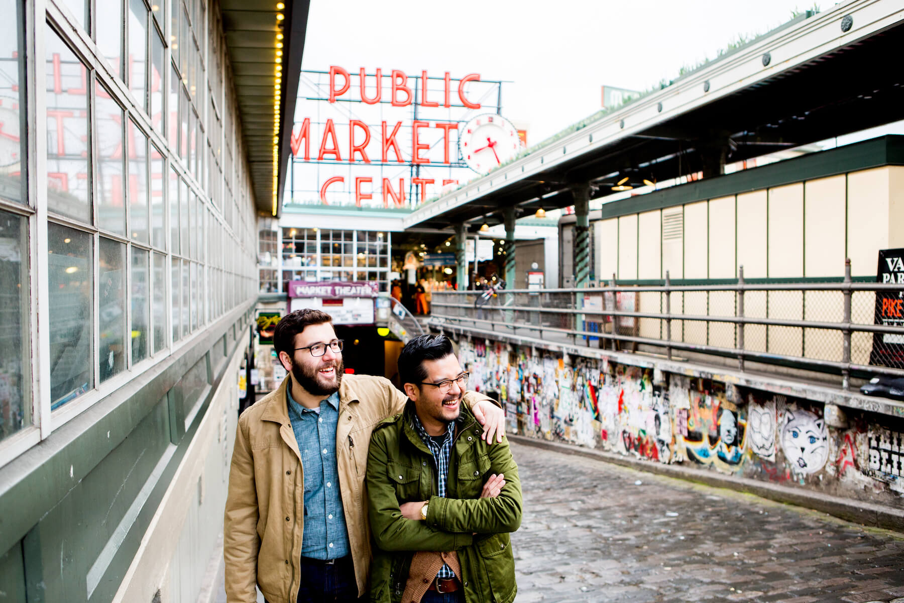 Gay couple in Seattle Pike Place Market United States
