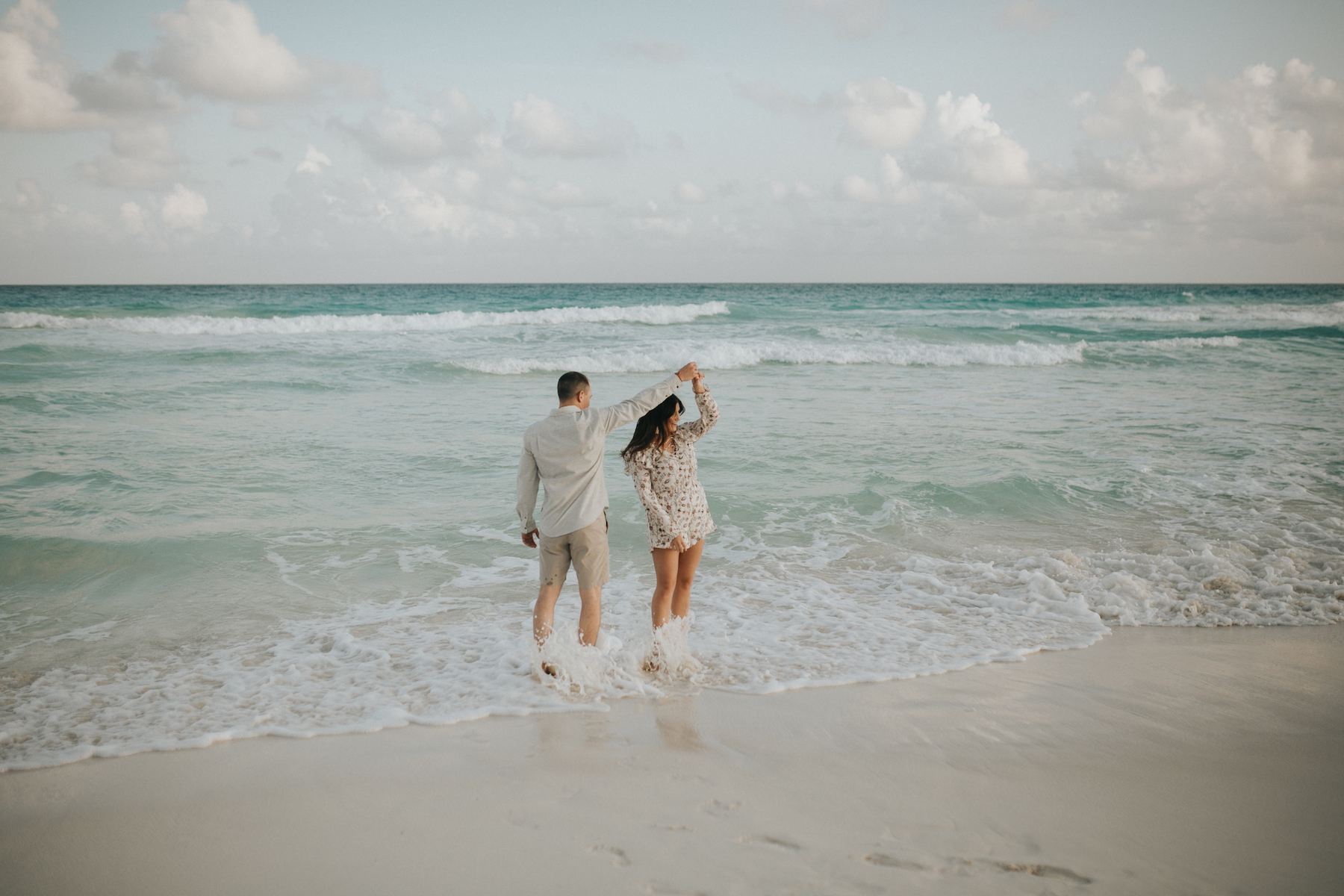 Couple on the beach in Cancun Mexico