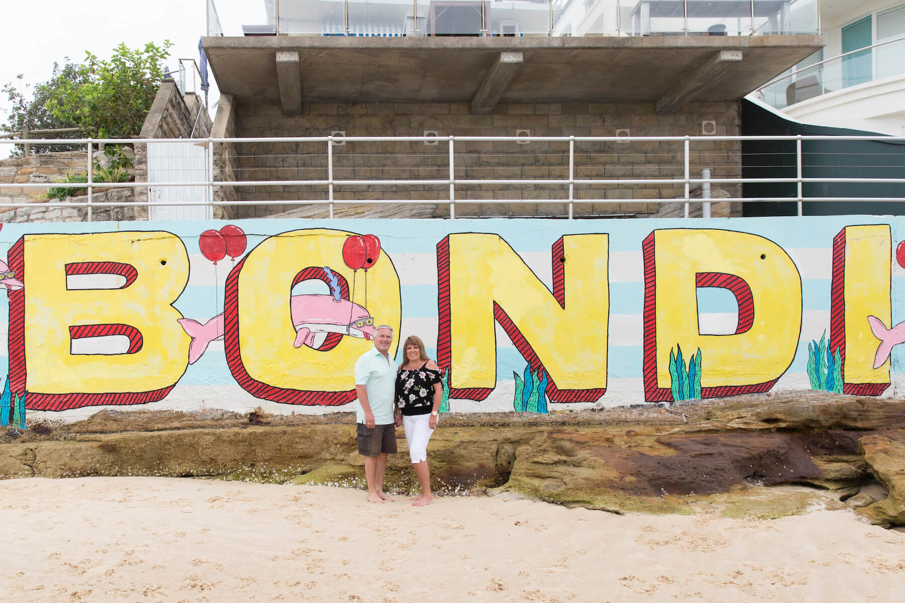 Couple on Bondi Beach in Sydney Australia