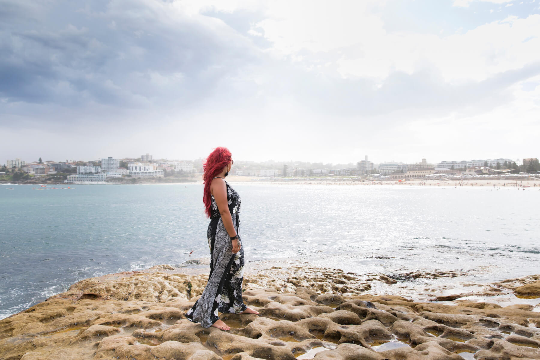 Woman on Bondi Beach in Sydney Australia