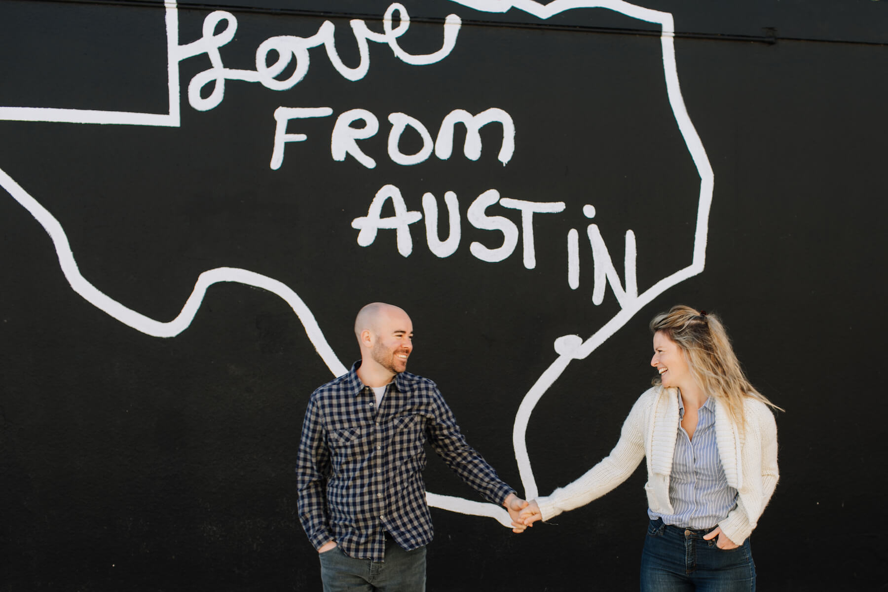 Couple laughing in Austin Texas
