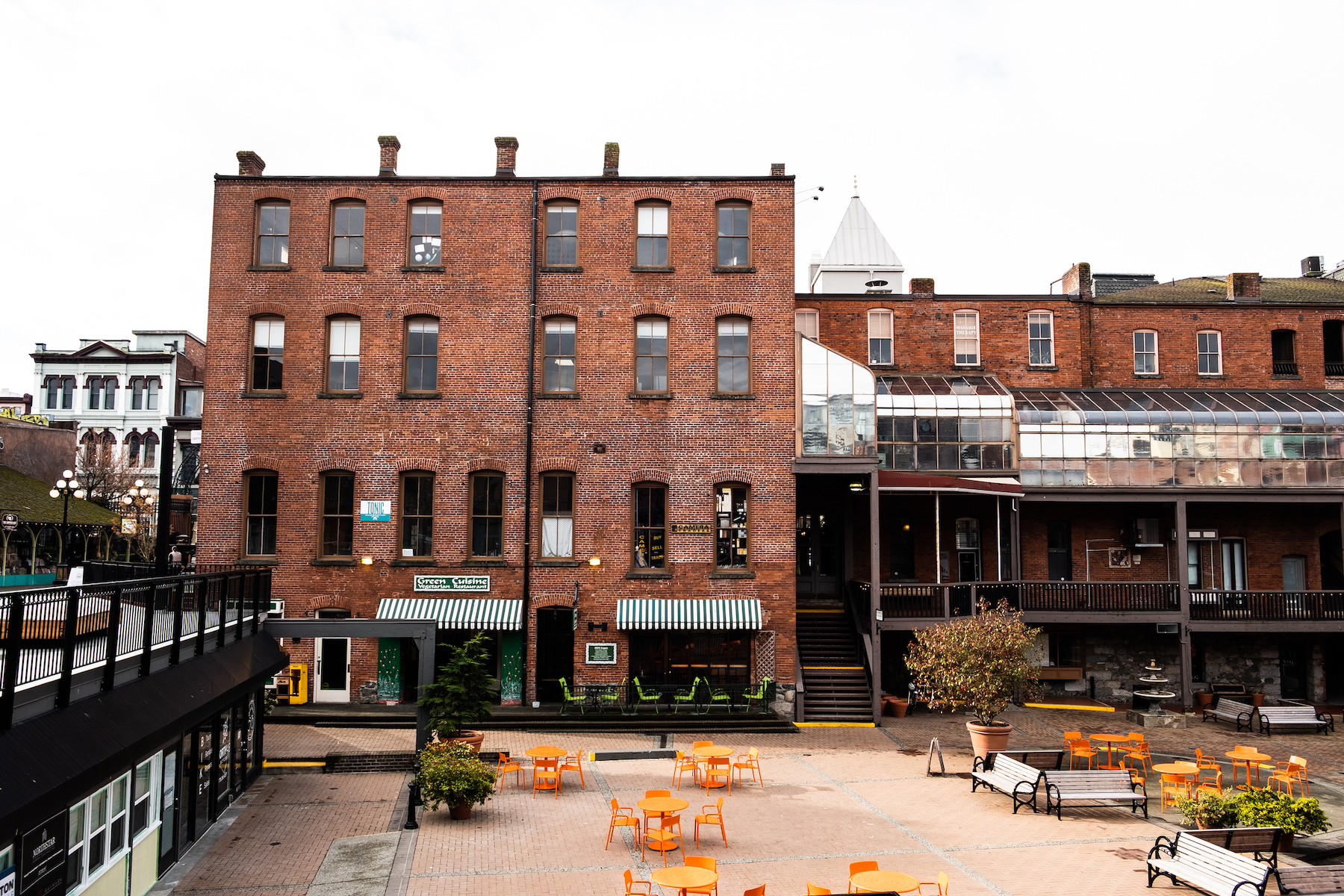 Old brick building with a courtyard in Victoria BC