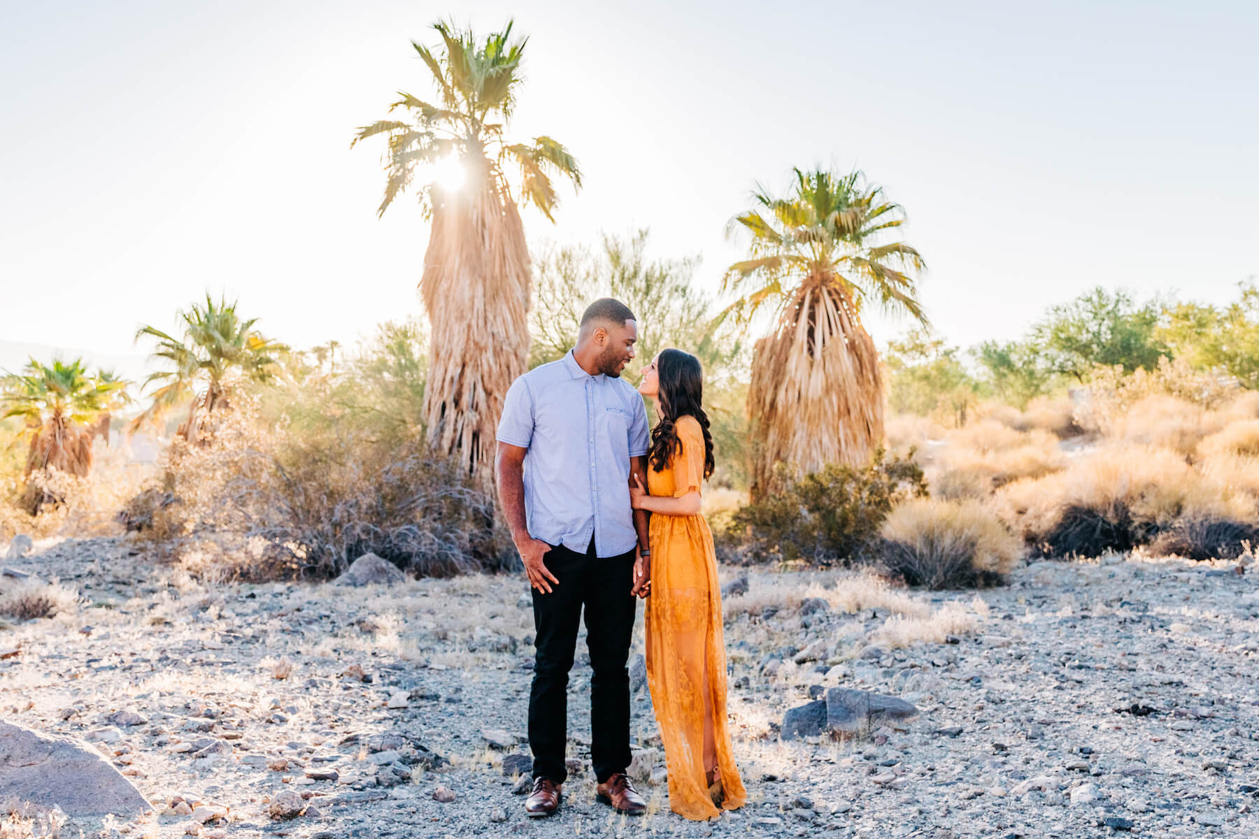 Hometown Couple Photo Shoot in Palm Springs in the desert