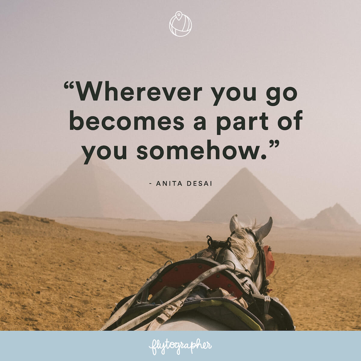 "Travel quote: ""Wherever you go becomes a part of you somehow."" - Anita Desai"
