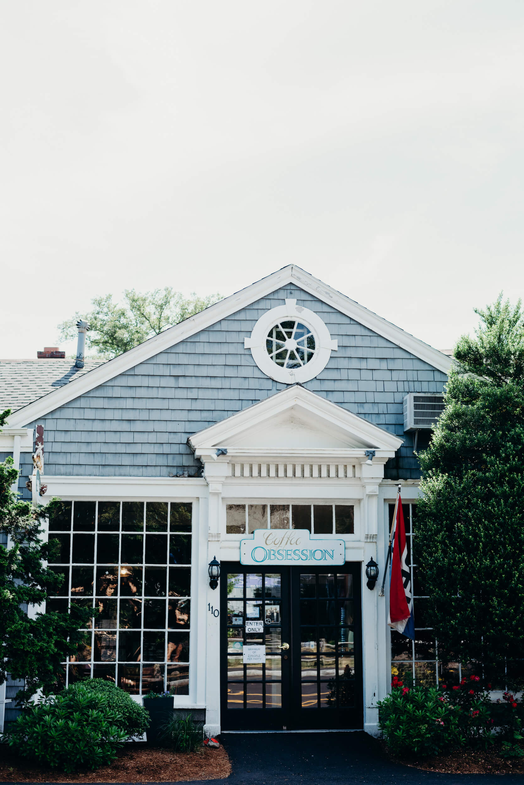 Exterior of Coffee Obsession cafe in Cape Cod, Massachusetts, USA.
